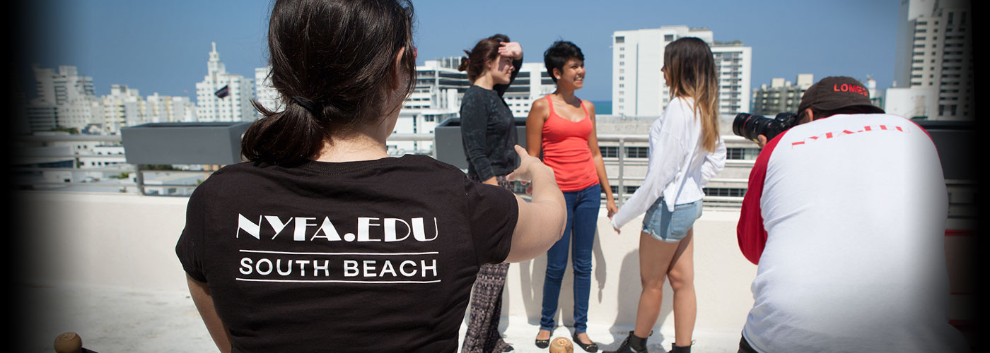 Students shoot a scene on a rooftop at NYFA Miami