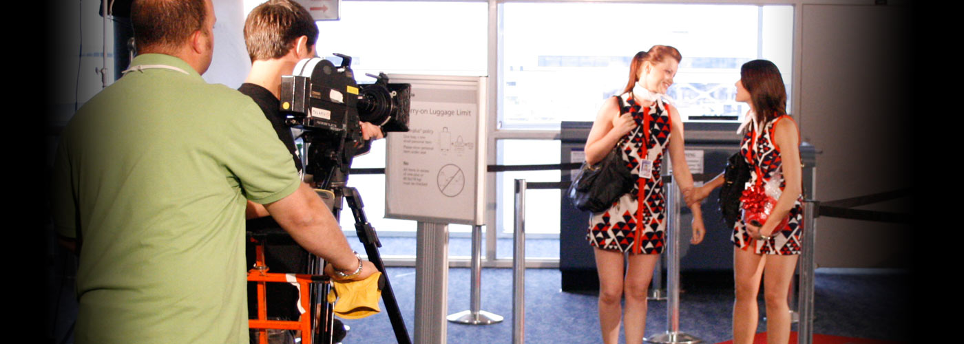 Students act in an airport at NYFA Miami's One-Year Acting Program