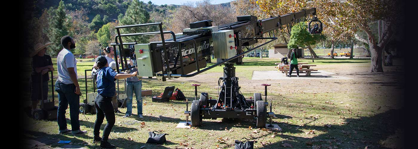 NYFA Student using a Crane Camera on set