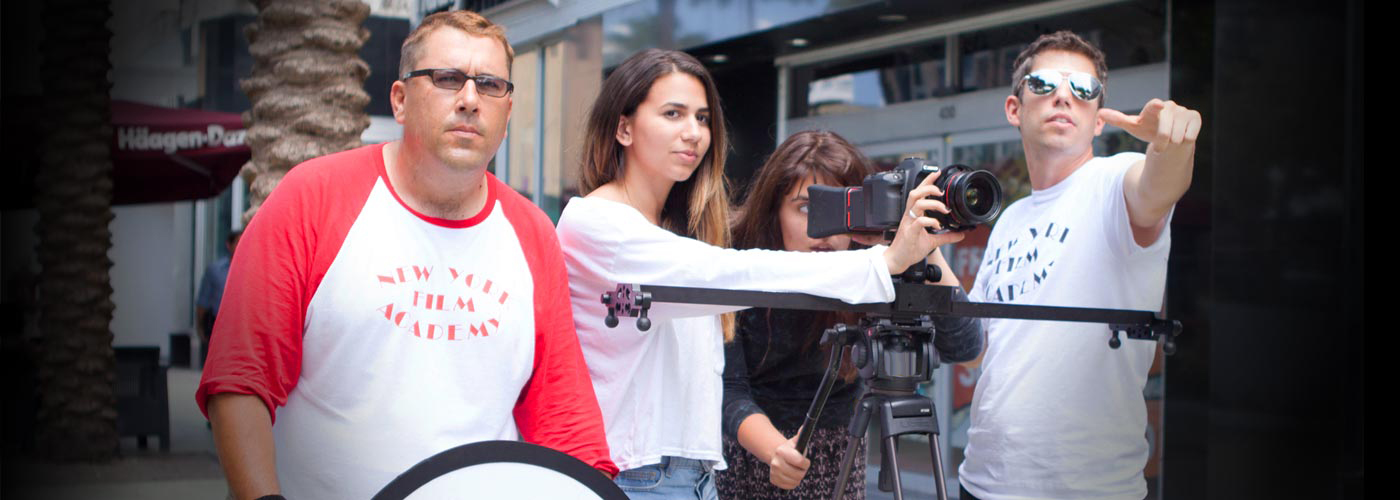 Filmmaking students shoot in crews at NYFA Miami film workshop