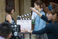 Acting students film a scene at NYFA's acting school