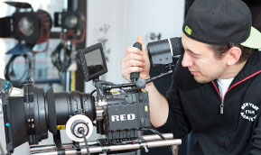 Student operates RED camera in MFA degree program